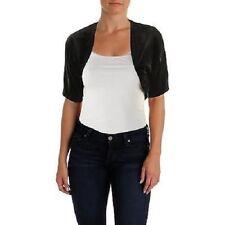 Connected Apparel Petite Bolero Sweater Sz PS Solid Black Velvet Business Casual