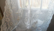 Vintage White French 3 Ducks Geese Farmyard, Lace CURTAIN, Window Treatment, Net