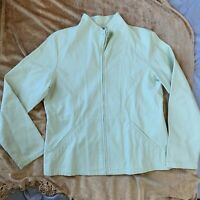Eileen Fisher Green Mock Neck Full Zip Jacket Size Small Pockets Cotton Spandex