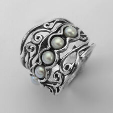 SHABLOOL Handmade Sterling Silver 925 White fresh water pearl multi stones Ring