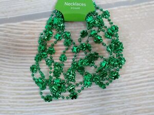 New! 3 pack St Patrick's Day Green Clover Charm Bead Necklaces Mardi Gras