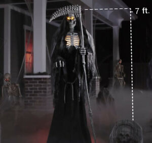 Halloween 7 ft ANIMATED LED Inferno Grim Reaper -  New In Box - ships quickly