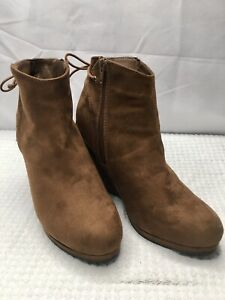 NWOB Cato Women's Brown Faux Suede Platform Wedge Booties Size 9 *