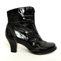 """Clarks Womens Ankle Boots UK 6 Black Patent Leather Chelsea 2.75"""" Block Heel"""