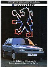 Peugeot 309 Competitor Comparisons 1986 UK Brochure Golf Astra Escort Maestro