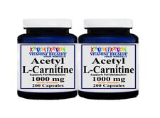 2X Acetyl L-Carnitine 1000mg Energy-Chronic Fatigue- Focus- Weight Loss 200 caps