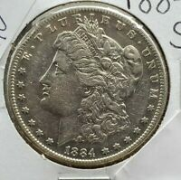 1884 S $1 Morgan Silver Dollar Coin Nice AU About Uncirculated