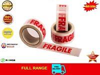 2 ROLLS FRAGILE PRINTED STRONG PARCEL TAPE MULTILISTING 12 6 24 36 72 48mm 66m