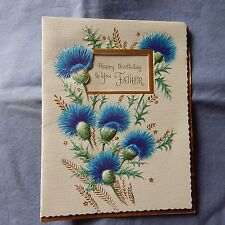 Vintage Birthday Card GRACIOUS GREETINGS 10B 0499, FATHER Blue Thistle 1960
