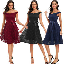 Fashion Bridesmaid Wedding Party Dress Women Lace Off Shoulder Short Prom Dress