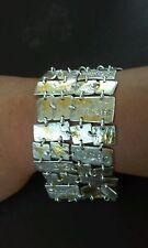 Gorgeous mid century modern cubism sterling silver linked bracelet