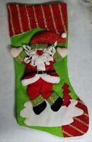 Yantzi's Santa Claus Christmas Stocking - Red, Green & Gold Holiday Decoration