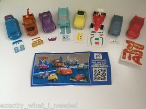 Kinder Surprise Disney Cars 2 Limited Edition Complete Set Of 8 CHINA 2016 RARE