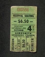 Original 1975 Aerosmith Concert Ticket Stub Greensboro NC Toys In The Attic Tour