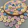 New 200PCS Mini Mixed Handmade Wood Button Sewing Scrap Craft 4 Holes 10mm