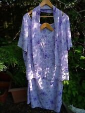 Lilac White Floral Summer Skirt Suit Tunic Top Blouse+Scarf-Size 24 26 28 30 32