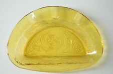 Vintage / Retro Amber Semi-Circle Wood Textured Glass Ashtray / Bowl
