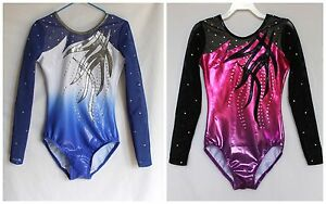 Sombra Girls Long sleeve Ombre Gymnastics Leotard