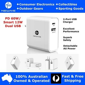 NEWAVE 60W PD Dual USB Fast Quick Wall Charger Adapter 4 Phone Tablet PC Laptop