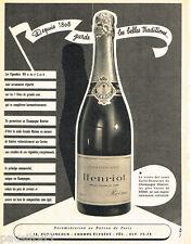 PUBLICITE ADVERTISING 085  1956  Le champagne  HENRIOT