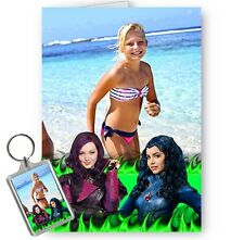 Personalised Photo Disney Descendants A5 All Occasion Card With Matching Keyring