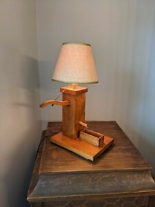 VINTAGE WOODEN ANTIQUE WATER PUMP LAMP WITH SHADE