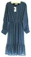 St Frock AUS 14 blue white polka dot ruffle hem dress lined sheer sleeve US10