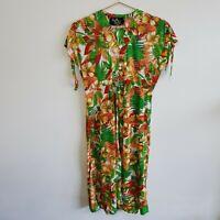 Vtg Tropical Print Tie-Shoulder A-Line Dress 50s 60s S-M Rockabilly Pinup Retro