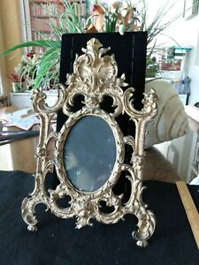 ANTIQUE VICTORIAN ORNATE BRASS SCROLLS LEAVES OVAL FRAME  13 X 8 INCHES