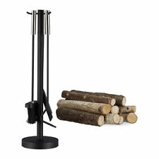 4-Piece Fireplace Companion Tool Set, Modern Steel Accessories with Rack