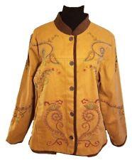 DENIM & CO. 1970s Vintage Embroidered Denim Jacket Coat - Brown - Large