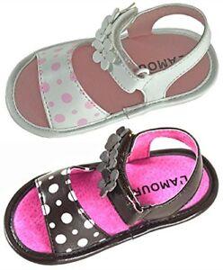 Angel Baby Girl Polka Dot & Flower Hook and Loop Leather Sandals - 282596