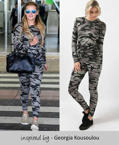 NEW WOMENS MARL KNIT TRACKSUIT LOUNGEWEAR SET CAMOUFLAGE JOGGING BOTTOMS