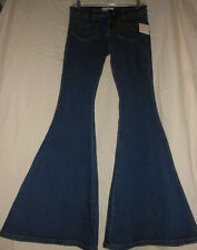FREE PEOPLE W 26 NWT Blue Denim Stretch Super Bell Bottom Jeans Disco 70s 26X33