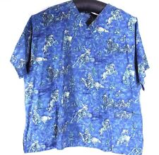 Nurses Scrub Top 5XL XXXXXL Roping AZ Cactus Desert 2 Pockets Animal Kingdom