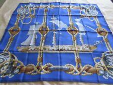 "Vintage HERMES ""Tribord"" silk scarf.  Unique solid background!"