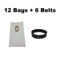(12) F Style Cloth Hepa Vacuum Bags for Kirby Sentria I & II G10D + (6) Belts