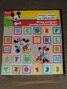 Disney Mickey Mouse Clubhouse Mickey & Minnie Learning & Grow Blocks-New In Pkg.