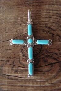Zuni Indian Sterling Silver Turquoise Cross Pendant - Martinez