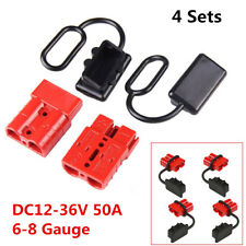 4Pcs 50A 6-8 Gauge Battery Quick Connect/Disconnect Winch Wire Harness Plug Kit