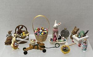 Vintage Artisan Easter Decor Baskets Candy Bunnies Dollhouse Miniature 1:12