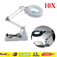 CA Desktop LED Magnifier Lamp Light Magnifying Glass Lens 10XLoupes W/light Bulb