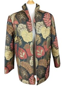 Painted Pony Uniquely USA Open Front Autumnal Leaf Pattern Jacket Size Small VTG