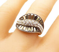 925 Sterling Silver - Vintage Topaz & Marcasite Wavy Band Ring Sz 9 - R14290