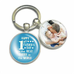 Personalised Keyring Happy 1st First Father's Day Gift for Daddy Baby Girl/Boy