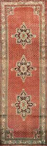 Excellent Vintage Geometric Botemir Runner Rug Paisley Hand-knotted 4x11 Carpet