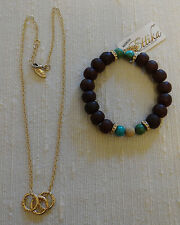 Etikka Necklace Gold Tone Chain with Hammered Rings and Stretch Bracelet