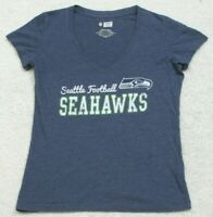 NFL Seahawks Blue Cotton Polyester Short Sleeve V-Neck Tee T-Shirt Top Small