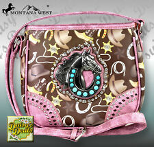 Montana West Rodeo Horse Crystal/Turquoise Stone Concho Cross body Bag-Pink