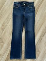 White House Black Market Womens Bootcut Jeans Blue Mid Rise Whiskered Stretch 4